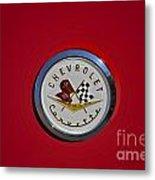 1957 Red Corvette Emblem Metal Print