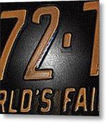 1965 New York World's Fair License Plate Metal Print