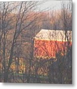 1nov2012 Sunrise On Red Barn Metal Print