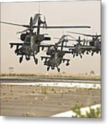 A Group Of Ah-64d Apache Helicopters Metal Print
