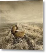 Abandoned Antique Baby Carriage In Field Metal Print