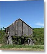 Abandoned Old Farm Building With Blue Sky Metal Print