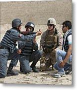 An Afghan Police Student Loads A Rpg-7 Metal Print