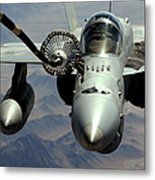 An Fa-18c Hornet Receives Fuel Metal Print