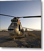 An Iraqi Helicopter Sits On The Flight Metal Print