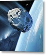 Asteroid Approaching Earth, Artwork Metal Print by Detlev Van Ravenswaay