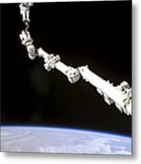 Astronaut Anchored To A Foot Restraint Metal Print