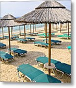 Beach Umbrellas On Sandy Seashore Metal Print by Elena Elisseeva