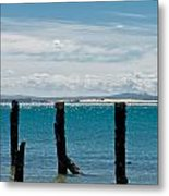 Beautiful Rotten Mooring On A Beach Metal Print