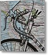 Bike 2 On Map Metal Print
