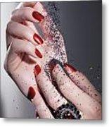 Black Sand Falling On Woman Hands Metal Print by Oleksiy Maksymenko