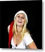 Blonde Woman With Santa Hat Metal Print
