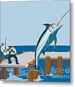 Blue Marlin Fish Jumping Retro Metal Print