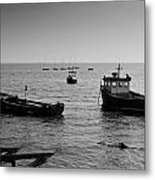 Boats Moored Off Of Leigh Essex Metal Print