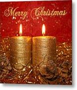 2 Candles Christmas Card Metal Print
