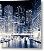 Chicago River Buildings At Night Metal Print