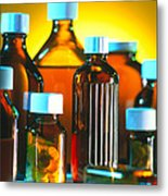Collection Of Medicine Bottles With Safety Caps Metal Print by Tek Image