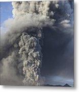Eruption Of Ash Cloud From Mount Bromo Metal Print