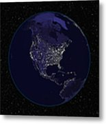 Full Earth At Night Showing City Lights Metal Print