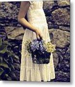 Girl With Flowers Metal Print by Joana Kruse