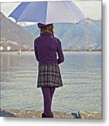 Girl With Umbrella Metal Print