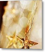 Golden Christmas Stars Metal Print
