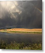 Hail Storm And Rainbow Metal Print
