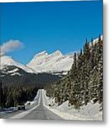 Highway In Winter Through Mountains Metal Print