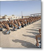 Iraqi Police Cadets Being Trained Metal Print by Andrew Chittock