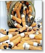 Jar Overflowing With Cigarette Butts Metal Print