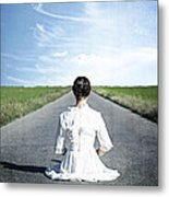 Lady On The Road Metal Print