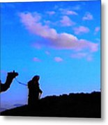 2 Late Evening Beduin Camel Walk In The Desert  Metal Print