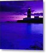 Lighthouse Beacon At Night Metal Print