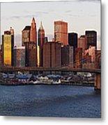 Lower Manhattan Skyline And Brooklyn Bridge At Dawn Metal Print by Jeremy Woodhouse
