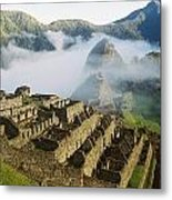 Machu Picchu In The Fog Metal Print