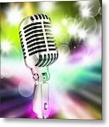 Microphone On Stage Metal Print