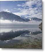 mist burning off Lake Bohinj Metal Print