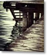 Old Wooden Pier With Stairs Into The Lake Metal Print