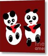 2 Pandas In Love Metal Print