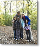 Parents And Children In A Wood Metal Print