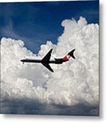 Passenger Jet And Clouds Metal Print