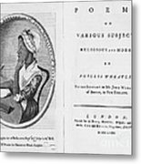 Phillis Wheatley, African-american Poet Metal Print by Photo Researchers