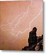 Praying Monk Camelback Mountain Lightning Monsoon Storm Image Tx Metal Print by James BO  Insogna