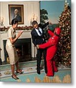 President And Michelle Obama Greet Metal Print