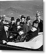 President Franklin D. Roosevelt In Car Metal Print by Everett
