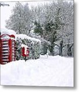 Red Phonebox In The Snow Metal Print
