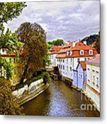 Red Roofs Of Prague Metal Print