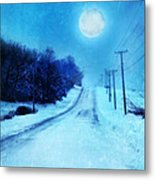 Rural Road In Winter Metal Print