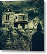 Scary Abandoned House On Hill Metal Print
