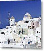 Scene In Santorini Island Greece Metal Print